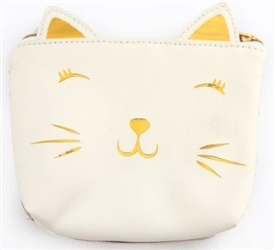 White Faux Leather And Gold Cat Purse 13cm