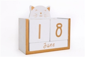 Wooden Cat Block Calender 13cm