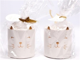 Ceramic White And Gold Cat Oil Burner 11cm