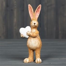 Standing Rabbit Decoration with Heart 14cm