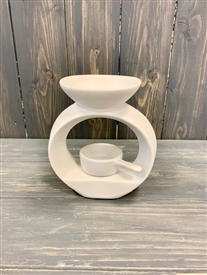 White Circular Wax Melter with Tealight Pan - Small