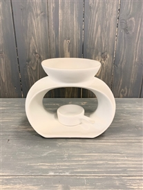 White Oval Wax Melter with Tealight Pan - Large