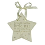Bambino Resin Hanging Star Plaque- Twinkle Twinkle