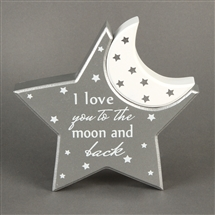 DUE AUGUSTTwinkle Twinkle MDF Moon And Star Mantel Plaque 14cm