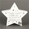 Due September-Twinkle Twinkle MDF Star Mantel Plaque 13.5cm