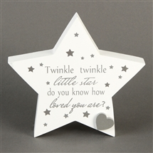 DUE MAY Twinkle Twinkle MDF Star Mantel Plaque 13.5cm