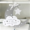 Due September--Twinkle Twinkle MDF Moon And Star Hanging Plaque 16.5cm