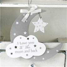 Twinkle Twinkle MDF Moon And Star Hanging Plaque