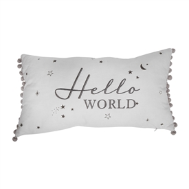 Bambino Hello World Cushion With Pom Pom