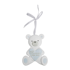Bambino Resin Hanging Teddy Bear Baby Boy Plaque