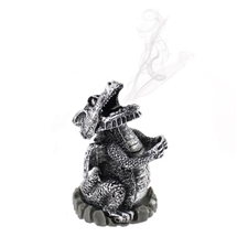 Silver Dragon Incense Cone Holder 9cm