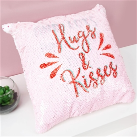 Hugs And Kisses Sequin Cushion