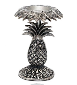 Distressed Silver Pineapple Candle Stick Holder 23cm