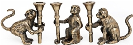 Monkey Candle Sticks 3 Assorted 14cm