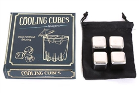 Set Of 4 Stainless Steel Drink Cooling Cube Set 12cm