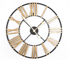Black and Gold 60cm Metal Clock