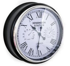 Multi Feature Black And White Clock 45cm
