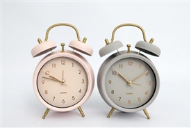 Retro Style Table Clock 2 Asssorted 17cm