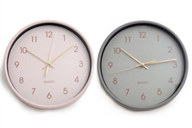 Grey / Pink Wall Clock 25cm