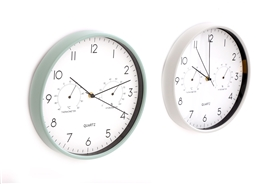 Green / White Multifunction Wall Clock 30cm 2 Asst