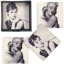 Set of 4 Icon Coasters in Holder