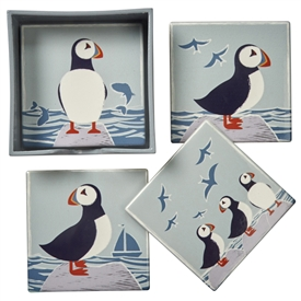Set Of 4 Puffin Coasters