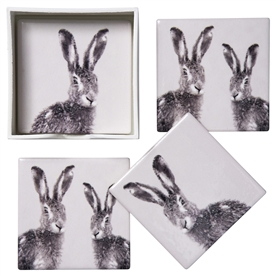 Set Of 4 Hare Coasters