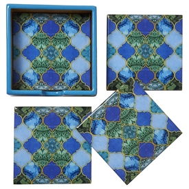 Set Of 4 Vibrantly Colouful Moroccan Style Coasters With Holder