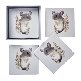 Set Of 4 Field Mouse Coasters