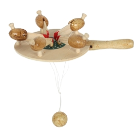 Set Of  2 Wooden Pecking Chicken Game 18cm