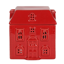 Red Ceramic House Oil Burner 12cm