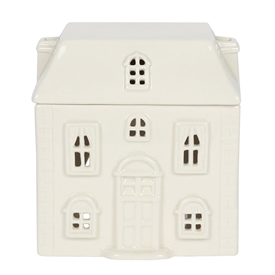 White Ceramic House Oil Burner 12cm