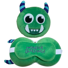 Travel Pillow & Eye Mask Combo � Green Monster 17cm