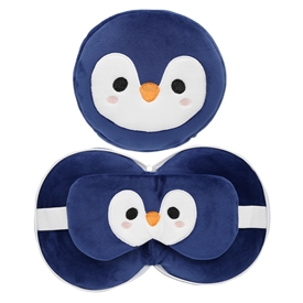 Travel Pillow & Eye Mask Combo � Penguin 17cm