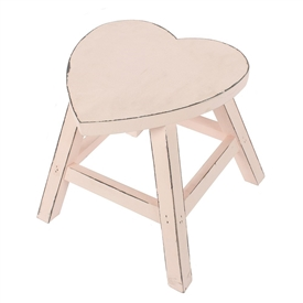 Wooden Heart Shaped Stool - Blush Pink