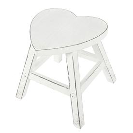 Wooden Heart Shaped Stool - White