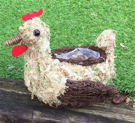 REDUCED, LIMITED TIME ONLY<p>Moss Effect Hen Planter 22cm