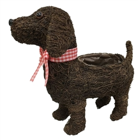 Dark Brushwood Standing Dog Planter 33cm