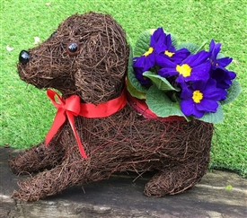Brushwood Sitting Dog Planter 30cm