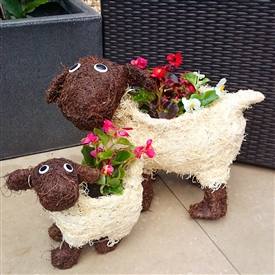Large Cute Brown And White Brushwood Sheep Planter 41cm
