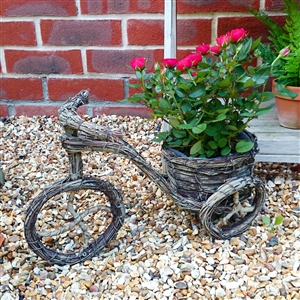 Brown Brushwood Traditional Bicycle Planter 36cm