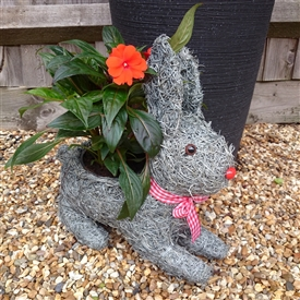 Grey Brushwood Rabbit Planter 35cm