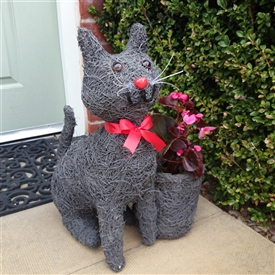 Grey Brushwood Sitting Cat Planter 43cm
