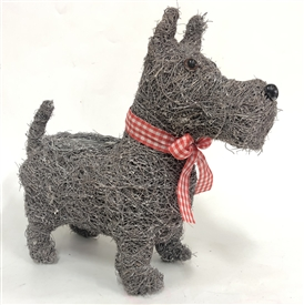 Grey Brushwood Scottie Dog Planter 36cm