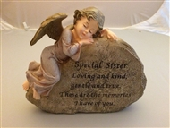 Sister Cherub On Rock Memorial Plaque
