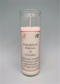 Remembered At Christmas Memorial Candle 18cm