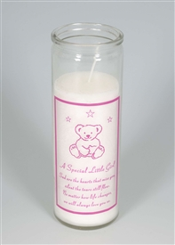 Little Girl Teddy Memorial Candle
