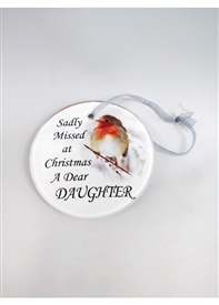 Glass Memorial Tree Hanger Decoration – Daughter 9cm