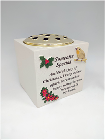 'Someone Special' Memorial Vase Block With Raised Robin And Rose Design