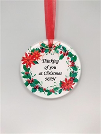 'Nan' Glass Christmas Wreath Style Decoration